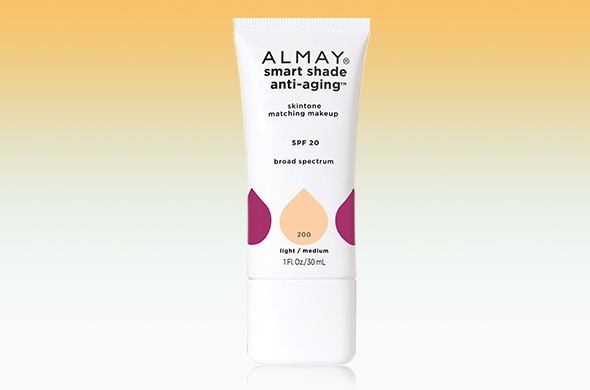 Smart Shade Anti-Aging Skintone Matching Makeup, P880, a foundation that contains the same Almay Tonemimic shade-sensing bead technology to help erase flaws ...