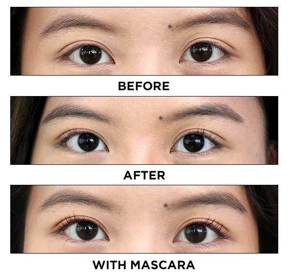 eyelash curler before and after. step 4: coat with the mascara of your choice. eyelash curler before and after