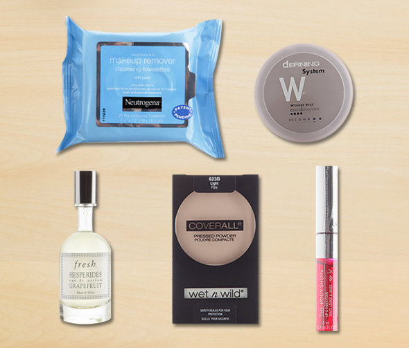 CLOCKWISE FROM TOP LEFT: Neutrogena's Makeup Towelettes, Davines' Defining  Wonder Wax, Fresh's Hesperides Grapefruit Eau de Parfum, Wet n' Wild Coverall Pressed Powder, The Body Shop's Lip & Cheek Stain
