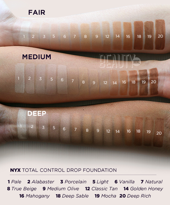 nyx professional makeup total control drop foundation. but what makes the collection especially great is that it comes in 14 shades. so, no matter where you lie on skin tone spectrum, you\u0027re assured a match. nyx professional makeup total control drop foundation