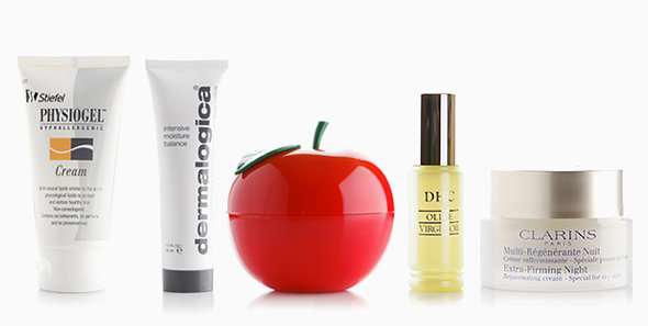 L-R: Physiogel Cream, Dermalogica's Intensive Moisture Balance, Tony Moly's Red Appletox Honey Cream, DHC's Virgin Olive Oil, Clarins' Extra-Firming Night Cream for Dry Skin