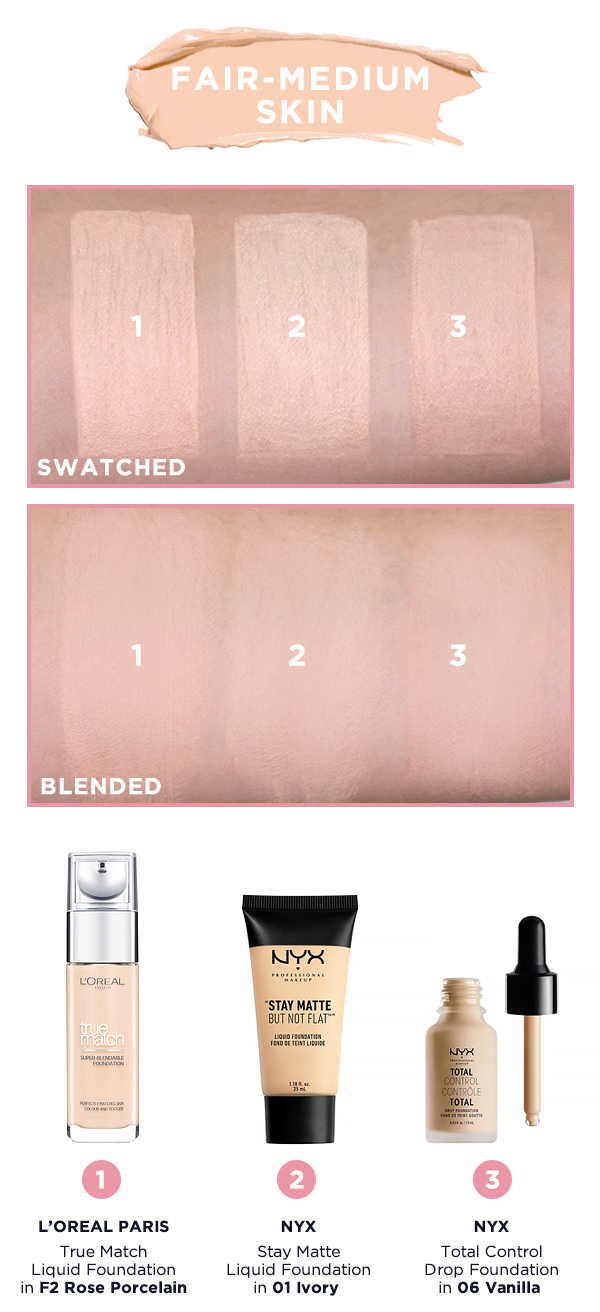 Shade Matcher: Foundation Swatches for L'Oreal Paris, Maybelline