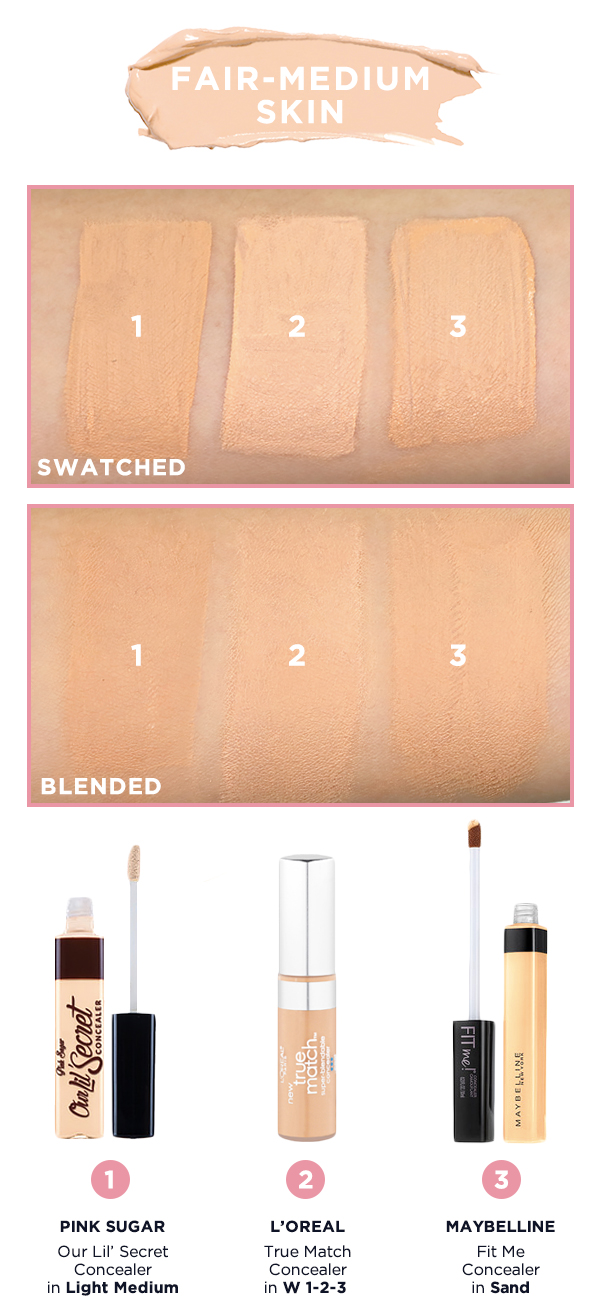 Shade Matcher Concealer Swatches For Benefit Maybelline Pink Fit Me Sugar With Applicator In Light Medium Is A Warm Beige Yellow Undertones Shop It Here 2 Loreal Paris True Match W 1 3