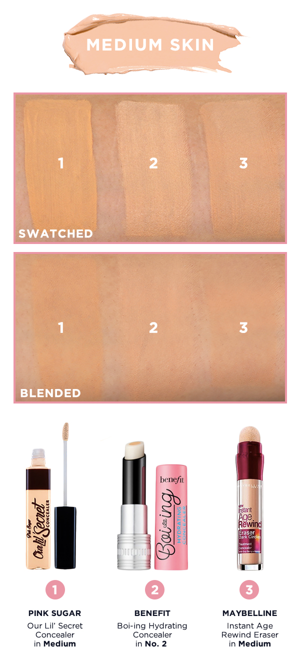 Shade Matcher Concealer Swatches For Benefit Maybelline Pink Fit Me Sugar With Applicator In Medium Is A Light Strong Yellow Undertones Shop It Here 2 Boi Ing Hydrating No