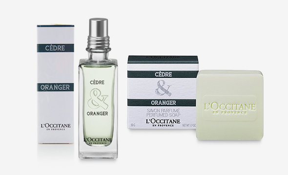 L'Occitane's Cedre & Oranger EDT, on sale at P2,145, and Perfumed Soap, P380