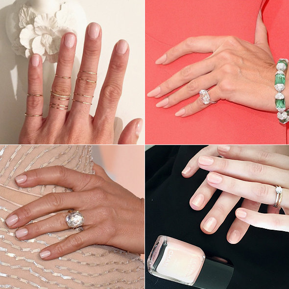 CELEBRITY MANICURES! Clockwise from top left: @deborahlippmann (Eva Chen's nails), @heidiklum, @stephstonenails (Keira Knightley's manicure), @tombachik (Jennifer Aniston's manicure)