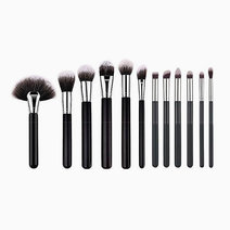 Brushwork 12 pieces makeup brush set   black silver