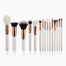 Brushwork 15 pieces makeup brush set   white rose gold