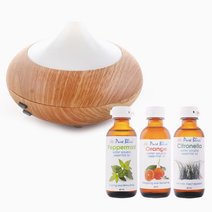 Pure bliss ultrasonic aroma diffuser w 60ml water soluble oil trio bundle (scents  orange  peppermint  citronella)