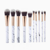 10-Piece Marble Makeup Brush Set by Brush Work