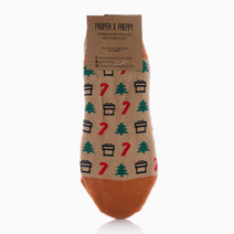 No Show Christmas Candy Cane Socks by Proppy in Gold (Sold Out - Select to Waitlist)