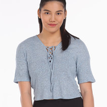 Alo Yoga Interlace Short Sleeve Top in Stormy Heather by Aura Athletica