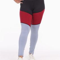 Tri-Colored Leggings Tights in Black/Red/Purple by Meraki Sports