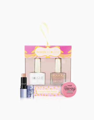 BENEFITXSOLIQUE Instant Gel Polish Gorgeous Goodies 2in1 (Whimsy + UV Gel Top Coat) + Benefit Boi-ing Airbrush Concealer Sample + Watts Up Deluxe Sample Gift Set by Solique