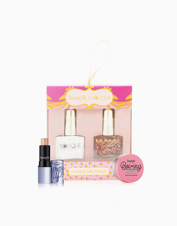 BENEFITXSOLIQUE Instant Gel Polish Gorgeous Goodies 2in1 (Twinkle + UV Gel Top Coat) + Benefit Boi-ing Airbrush Concealer Sample + Watts Up Deluxe Sample Gift Set by Solique