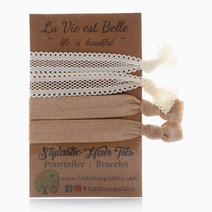 White Lace and Solid Tan Hair Ties by Little Tree Palette