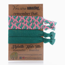 Green and Pink Cactus Hair Ties by Little Tree Palette