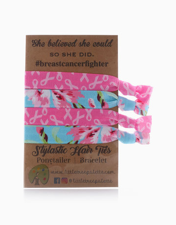 Breast Cancer Ribbons and Flowers Hair Ties by Little Tree Palette