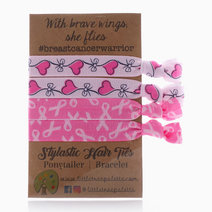 Breast Cancer Ribbons and Hearts Hair Ties by Little Tree Palette