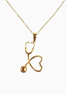 Steph Stethoscope Necklace by Dusty Cloud in Gold