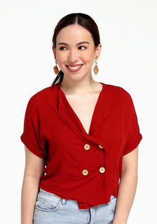 Macy Vintage Button Down by Morning Clothing in Vermilion in Free Size