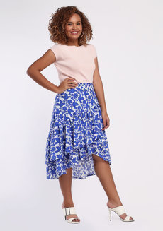 Daina Skirt Plus (Petite) by Style Ana in Blue Printed in L