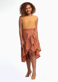 Daina Skirt Plus (Petite) by Style Ana in Brown Polka Printed in L