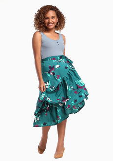 Daina Skirt Plus (Petite) by Style Ana in Green Floral Printed in L