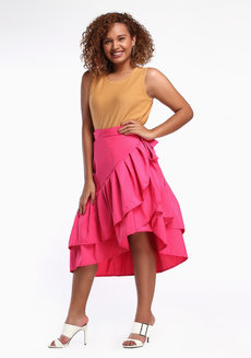 Daina Skirt Plus (Petite) by Style Ana in Hot Pink in L