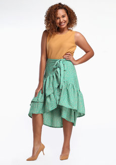 Daina Skirt Plus (Petite) by Style Ana in Seafoam Printed in L