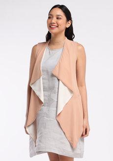 Chiffon Vest by VEENTEDGE in Beige in Free Size