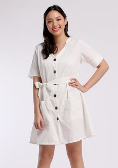 Linen Buttoned Dress by VEENTEDGE in White in Free Size
