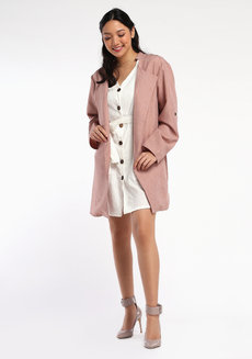 Linen Coat by VEENTEDGE in Dust PInk in Free Size
