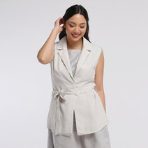 Linen Sleeveless Blazer by VEENTEDGE
