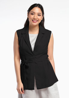 Linen Sleeveless Blazer by VEENTEDGE in Black in Free Size