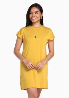 Lazy Shirt Dress by Lazy Fare in Mustard in Free Size