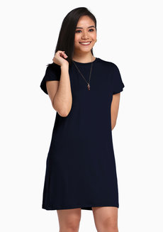 Lazy Shirt Dress by Lazy Fare in Midnight Blue in Free Size