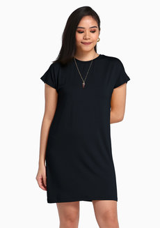 Lazy Shirt Dress by Lazy Fare in Black in Free Size