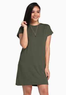 Lazy Shirt Dress by Lazy Fare in Olive Green in Free Size