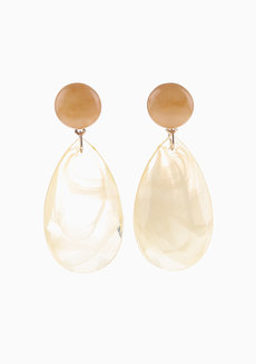 Chelsea (Teardrop Acrylic Drop Earrings) by Kera & Co in Orange