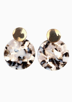 Blair B/W Marble Earrings by Nove in Black and White