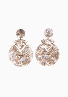 Blanche Grey Marble Earrings by Nove in Grey