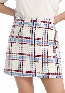 Plaid Skirt by Fudge Rock in White in M