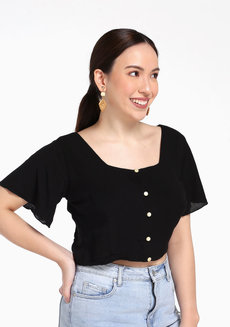 Lisa Square Neckline Button Down by Morning Clothing in Black in Free Size