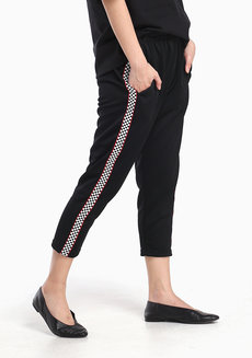 Side Strip Joggers by Fudge Rock in Checkered Strip in Free Size