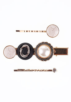 Vera Hair Clip Set by EI Project in Gold, Black, and Pearl White