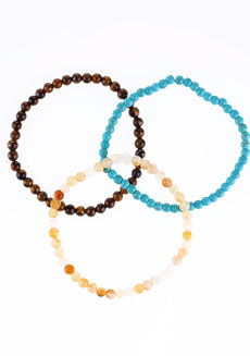 Travel Stone Set by Bedazzled in Turquoise, Brown, and Yellow