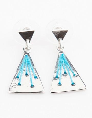 Silver/Blue Triangle Earrings by Timi