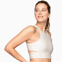 Slashback Crop Top in Oatmeal by Outdoor Voices