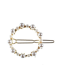 Circle Gold Pearl Clip by Adorn by MV